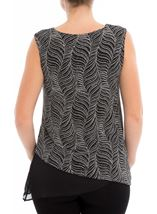 Asymmetric Sleeveless Shimmer Top Black/Silver - Gallery Image 3