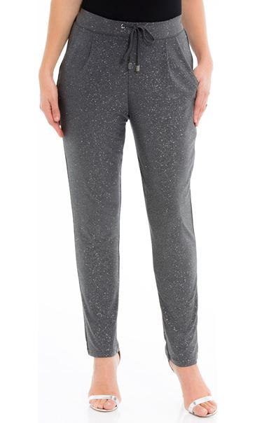 Glitter Tapered Tie Front Trousers Grey