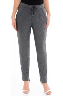 Glitter Tapered Tie Front Trousers - Grey