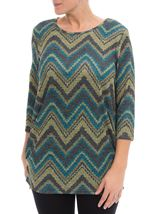Three Quarter Sleeve Ruched Tunic Black/Lime/Teal - Gallery Image 1