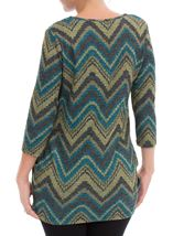 Three Quarter Sleeve Ruched Tunic Black/Lime/Teal - Gallery Image 2
