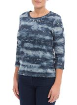Anna Rose Eyelet Trim Top Blue/Multi - Gallery Image 2