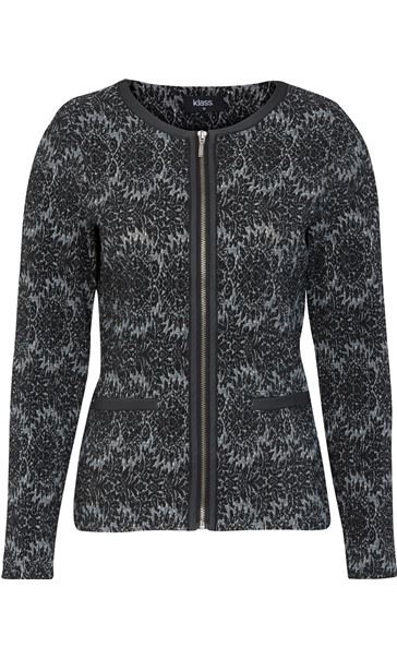 Patterned Zip Jacket Black/Grey