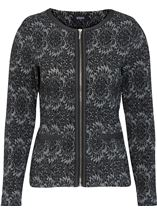 Patterned Zip Jacket Black/Grey - Gallery Image 1