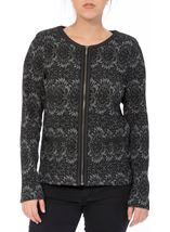 Patterned Zip Jacket Black/Grey - Gallery Image 2