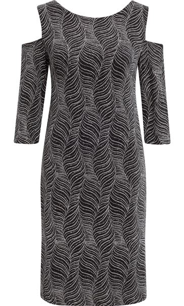 Cold Shoulder Sparkle Midi Dress Black/Silver