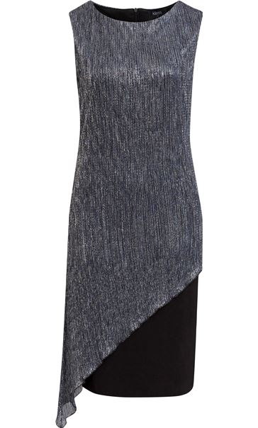 Sleeveless Crinkle Layer Midi Dress Black/Dk Blue/Silver