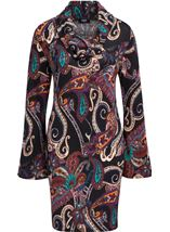 Paisley Print Cowl Neck Knit Dress