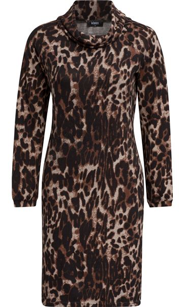 Leopard Print Cowl Neck Dress Brown/Black