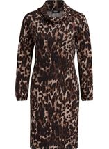 Leopard Print Cowl Neck Dress Brown/Black - Gallery Image 1