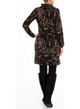 Leopard Print Cowl Neck Dress Brown/Black - Gallery Image 3
