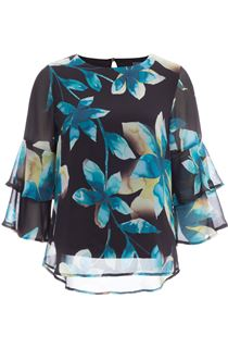 Floral Printed Frill Sleeve Chiffon Top