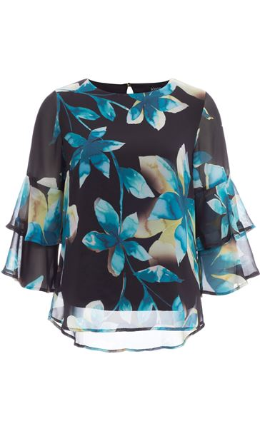 Floral Printed Frill Sleeve Chiffon Top Multi Peacock