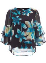 Floral Printed Frill Sleeve Chiffon Top Multi Peacock - Gallery Image 1