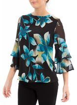Floral Printed Frill Sleeve Chiffon Top Multi Peacock - Gallery Image 2