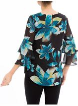 Floral Printed Frill Sleeve Chiffon Top Multi Peacock - Gallery Image 3