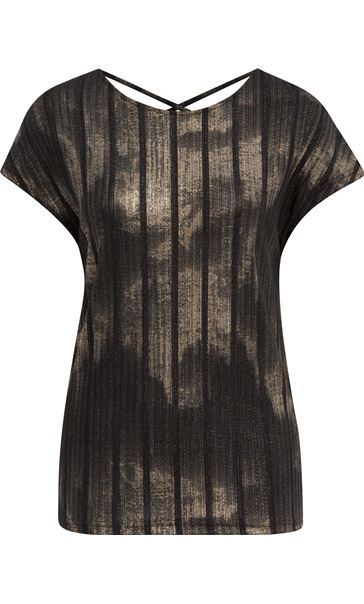 Sparkle Stripe Printed Short Sleeve Top Black/Gold