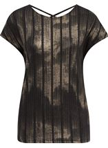 Sparkle Stripe Printed Short Sleeve Top Black/Gold - Gallery Image 1