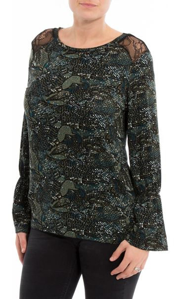 Lace Trim Printed Long Sleeve Top Black/Green