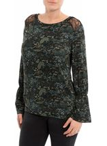Lace Trim Printed Long Sleeve Top Black/Green - Gallery Image 1