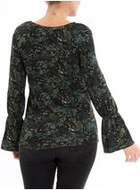 Lace Trim Printed Long Sleeve Top Black/Green - Gallery Image 2