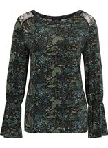 Lace Trim Printed Long Sleeve Top Black/Green - Gallery Image 3