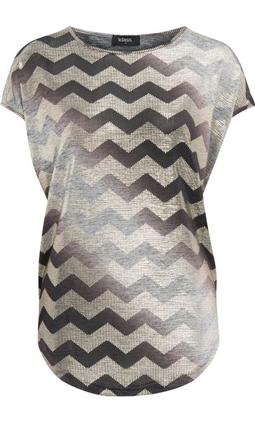 Short Sleeve Chevron Foil Top Grey - Gallery Image 1