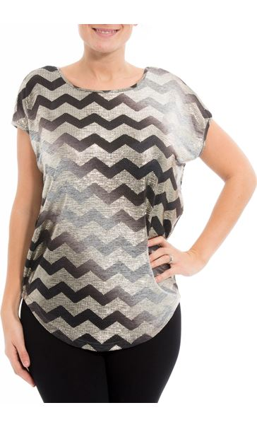 Short Sleeve Chevron Foil Top Grey - Gallery Image 2