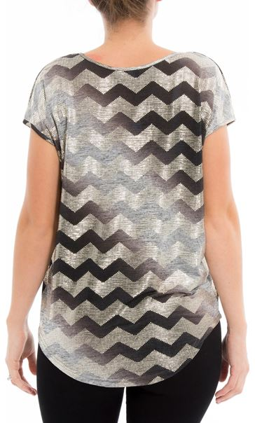 Short Sleeve Chevron Foil Top Grey - Gallery Image 3
