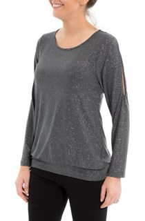 Glitter Cold Shoulder Stretch Top - Grey/Silver