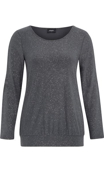 Glitter Cold Shoulder Stretch Top Grey/Silver