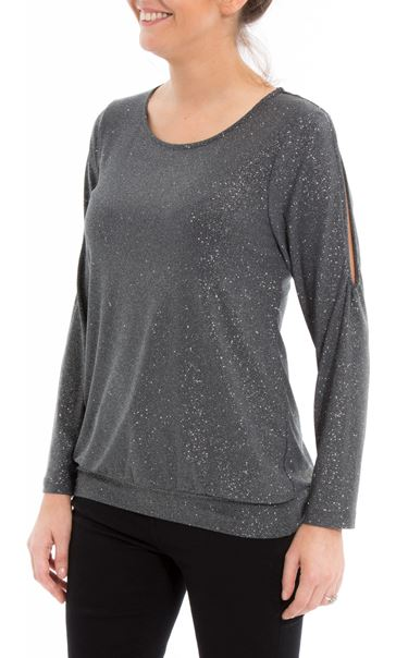 Glitter Cold Shoulder Stretch Top Grey - Gallery Image 2