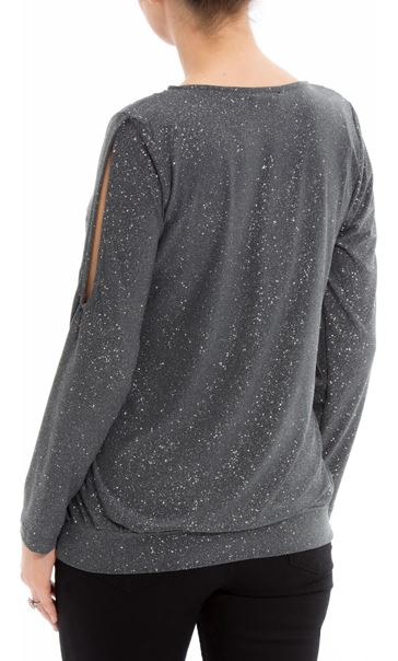 Glitter Cold Shoulder Stretch Top Grey - Gallery Image 3