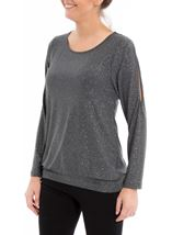 Glitter Cold Shoulder Stretch Top Grey/Silver - Gallery Image 2