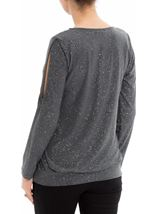 Glitter Cold Shoulder Stretch Top Grey/Silver - Gallery Image 3