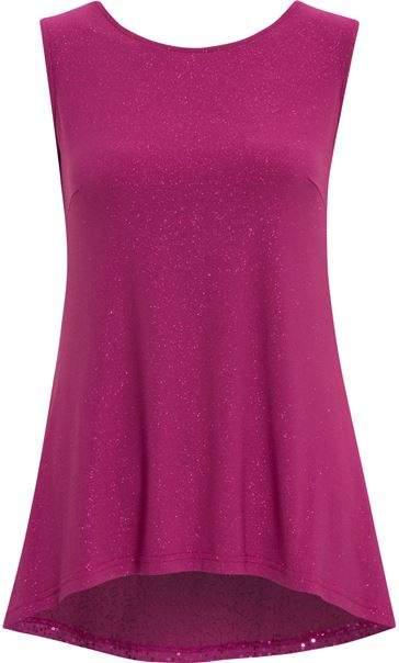 Sleeveless Glitter Top Cerise