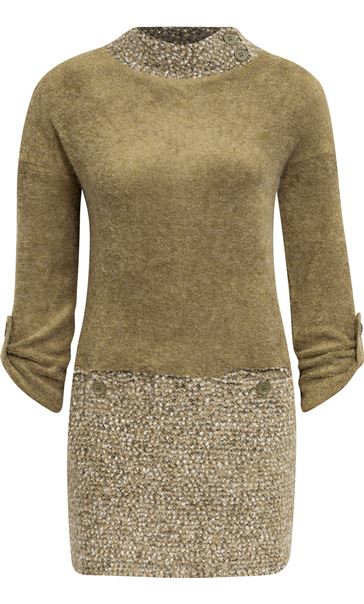 Long Sleeve Textured Knit Tunic Khaki