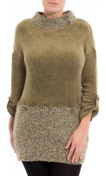 Long Sleeve Textured Knit Tunic Khaki - Gallery Image 2