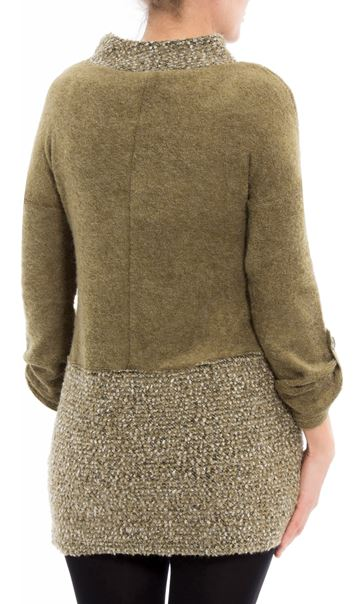 Long Sleeve Textured Knit Tunic Khaki - Gallery Image 3