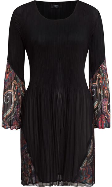 Pleated Flute Sleeve Tunic Black