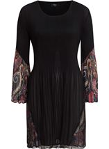 Pleated Flute Sleeve Tunic Black - Gallery Image 1