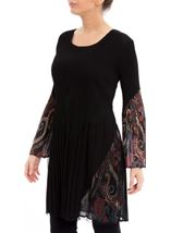 Pleated Flute Sleeve Tunic Black - Gallery Image 2