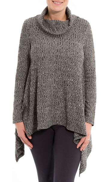 Cowl Neck Loose Knit Tunic Grey Marl