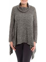 Cowl Neck Loose Knit Tunic Grey Marl - Gallery Image 1