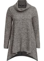 Cowl Neck Loose Knit Tunic Grey Marl - Gallery Image 4