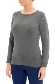 Long Embellished Sleeve Knitted Top - Dark Grey