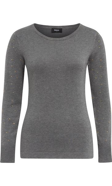 Long Embellished Sleeve Knitted Top Dark Grey
