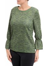 Shimmer Round Neck Top Apple - Gallery Image 1