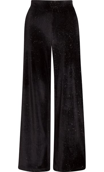 Velour Wide Leg Glitter Trousers Black