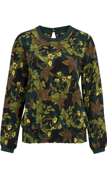 Long Sleeve Floral Georgette Top Verde/Lime